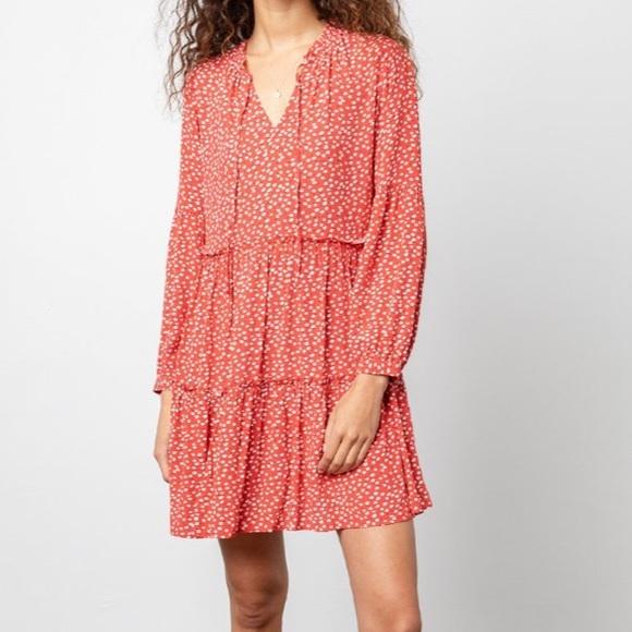 NWT Rails Everly Carmine Red Daisy Tiered Dress